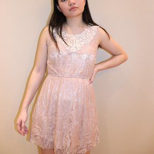 Pink Dress with Pearl Lace Detail